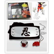 Naruto cos headband+ring+necklace