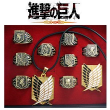 Attack on Titan rings+necklace+pin set