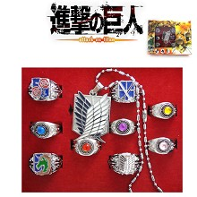 Attack on Titan rings+necklace set