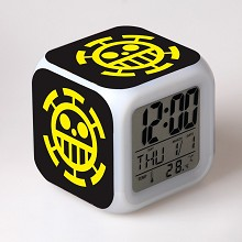 One Piece law multi-color clock