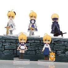 Fate stay night saber figures set(5pcs a set)