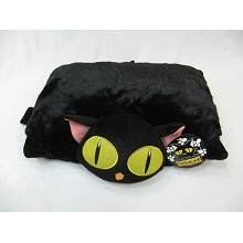 Cafe black cat pillow