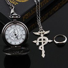 Fullmetal Alchemist pocket watch+necklace+ring