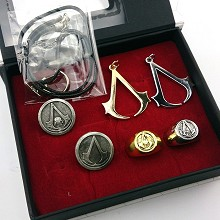 Assassin's Creed necklace+pin+ring a set
