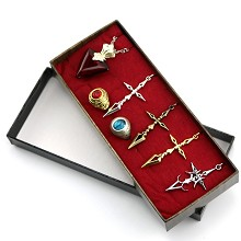 Fate Stay Night anime rings+necklaces a set