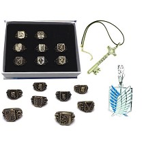Attack on Titan anime rings+necklaces a set