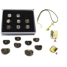 Attack on Titan anime rings+necklace+pin a set