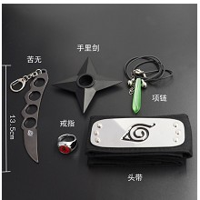 Naruto cos headband+weapon+necklace+key chain+ring...