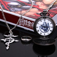 Fullmetal Alchemist anime pocket watch+necklace+ring a set
