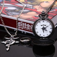 Fullmetal Alchemist anime pocket watch+necklace+ri...