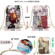 Charlotte anime drawstring backpack bag