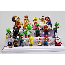 Super Mario anime figure key chains set(18pcs a set)