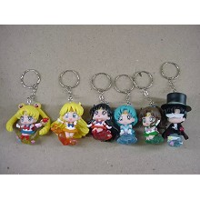 Sailor Moon anime figure key chains set(6pcs a set)