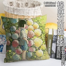 Spirited Away anime two-sided cotton fabric pillow