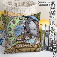 TOTORO anime two-sided cotton fabric pillow