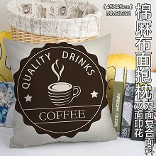 The coffee two-sided cotton fabric pillow