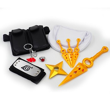 Naruto anime necklace+ring+key chain+headband+weapons a set