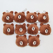 2.4inches LINE bear plush dolls set(10pcs a set)