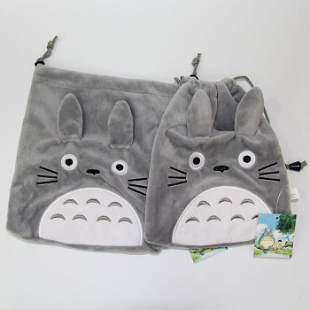 TOTORO anime plush drawstring bag