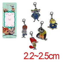 Zootopia anime key chains set