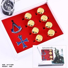Assassin's Creed anime necklace+keychain+rings set(10pcs a set)