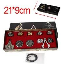 Assassin's Creed anime necklace+keychain+rings set...