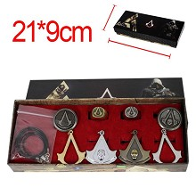 Assassin's Creed anime necklace+keychain+rings set(8pcs a set)