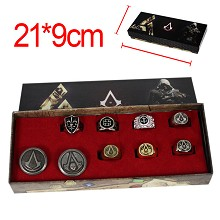 Assassin's Creed anime necklace+keychain+rings set(9pcs a set)