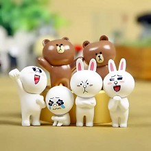 Line bear figures set(6pcs a set)