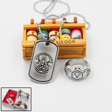 Assassin's Creed anime ring+necklace set(2pcs a set)