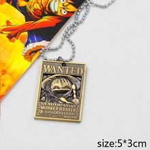 One Piece Luffy wanted anime necklace