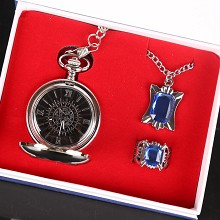 Kuroshitsuji anime pocket watch+necklace+ring a set