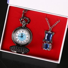 Kuroshitsuji anime pocket watch+necklace+ring a se...