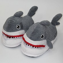 The shark plush slippers shoes a pair