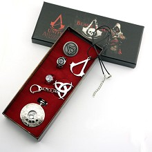 Assassin's Creed pocket watch+ring+pin+necklace set(6pcs a set)