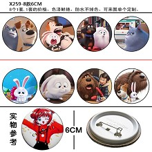 The Secret Life of Pets brooches pins(8pcs a set)