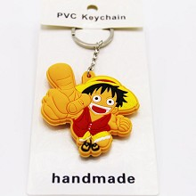 One Piece Luffy anime two-sided key chain