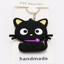 Black cat two-sided key chain