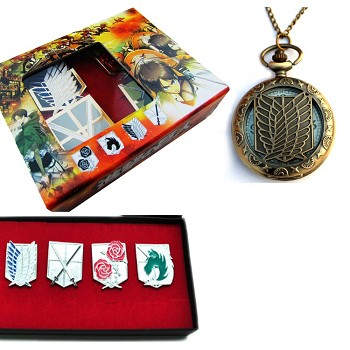 Attack on Titan anime pocket watch+pins