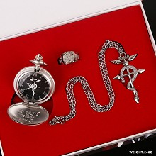 Fullmetal Alchemist anime pocket watch+ring+neckla...