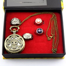One Piece anime pocket watch+rings