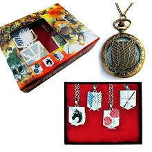 Attack on Titan anime pocket watch+necklaces