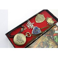 The Legend of Zelda pocket watch+pin+necklaces