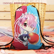 Re:Life in a different world from zero Rem anime drawstring backpack bag