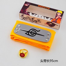 Naruto cos yellow headband+gold ring a set