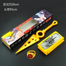 Naruto cos yellow headband+gold ring+gold weapon a set