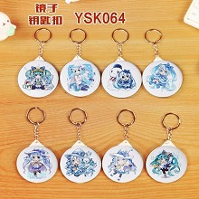 Hatsune Miku anime mirrow key chains set(8pcs a se...