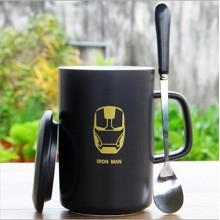 Iron Man anime cup+lid+spoon a set