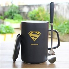Super man anime cup+lid+spoon a set