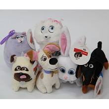 4.8inches The Secret Life of Pets anime plush dolls set(6pcs a set)